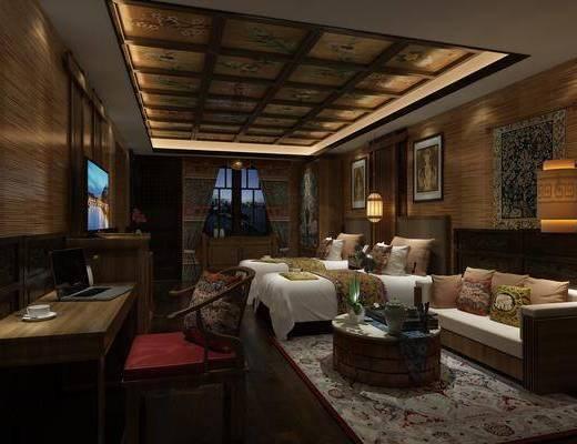 东南亚酒店客房3d模型, 酒店客房, 单人床, 书桌