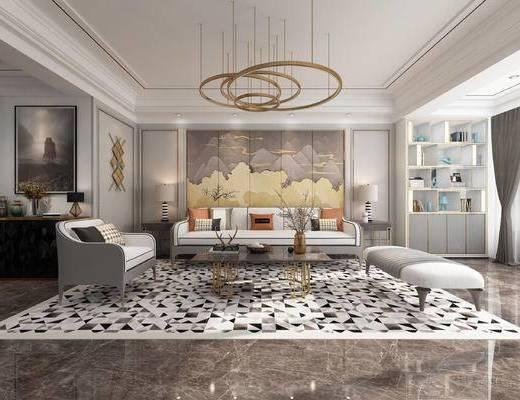 沙发组合, 壁纸, 背景墙, 吊灯, 茶几, 单椅, 电视柜