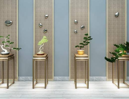 摆件组合, 植物盆栽, 新中式植物盆栽组合
