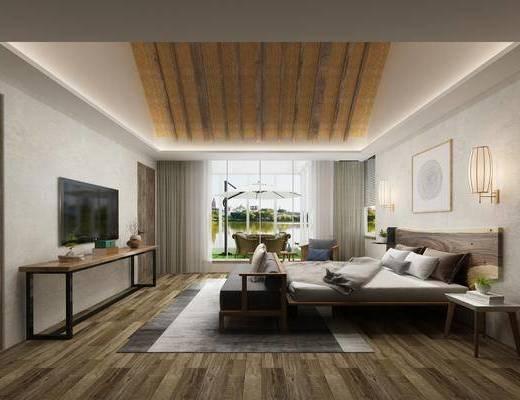 酒店客房, 民宿客房, 现代民宿, 床具组合, 桌椅组合
