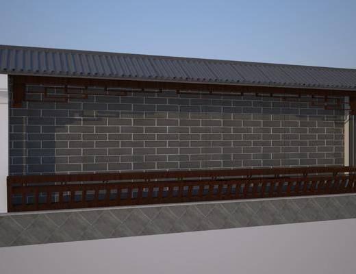 户外墙, 新中式户外墙, 砖墙, 新中式砖墙, 新中式