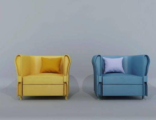 现代单人沙发, 单人沙发, 皮质沙发
