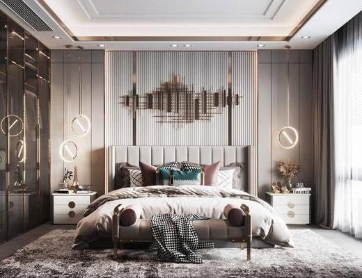 现代, 卧室, 双人床, 地毯, 床头柜, 墙饰