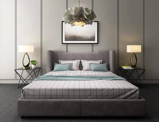 卧室, 双人床, 床头柜, 装饰画, 吊灯, 挂画, 现代