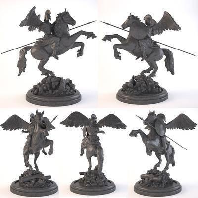 雕塑雕刻, 人物, 战马, 雕塑摆件, 现代