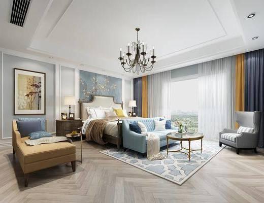 美式卧室, 双人床, 双人沙发, 茶几, 贵妃椅, 单椅, 吊灯, 美式