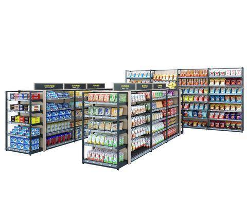 超市, 货架, 便利店, 组合
