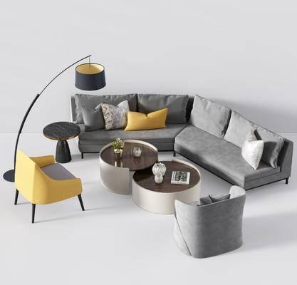 现代沙发组合, 沙发茶几组合, 现代沙发, 转角沙发, 多人沙发