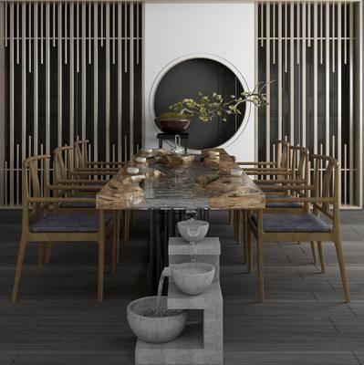 桌椅组合, 新中式桌椅组合, 茶桌, 茶具, 植物盆栽