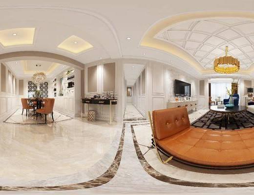 客厅, 沙发组合, 沙发茶几组合, 后现代, 现代, 客餐厅, 餐桌椅, 桌椅组合, 吊灯