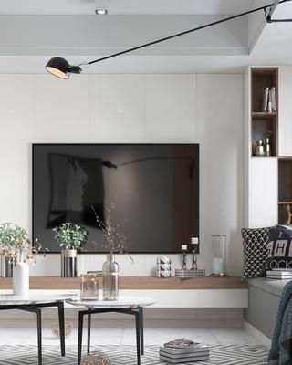 现代客厅, 现代餐厅, 沙发组合, 餐桌组合, 电视柜, 现代摆件, 置物柜, 现代吊灯