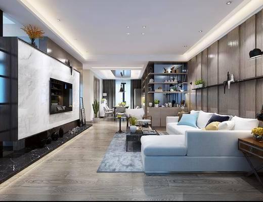 现代客厅, 现代沙发, 沙发组合, 沙发茶几组合, 电视墙, 电视柜, 多人沙发
