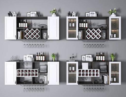 酒架壁架, 酒瓶, 书籍, 摆件, 装饰品, 陈设品, 现代