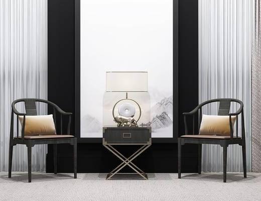新中式, 单椅, 椅子, 边几, 台灯