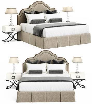 双人床, 床头柜, 床头灯, 简欧, 布艺, 床