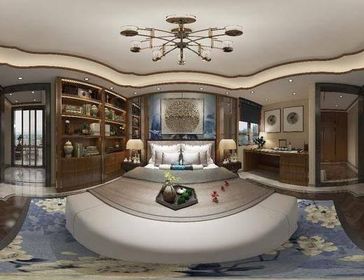 臥室, 家裝全景, 床具組合, 掛畫組合, 裝飾柜組合, 邊柜組合, 擺件組合, 新中式