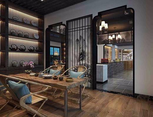 茶室, 茶馆, 茶具, 茶桌, 桌椅组合, 装饰柜, 置物柜, 新中式, 中式