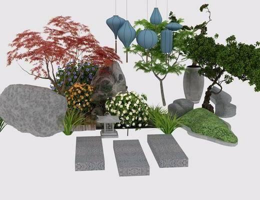 园艺小品, 景观, 现代, 中式