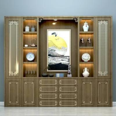 中式酒柜, 中式摆件, 柜架, 装饰画