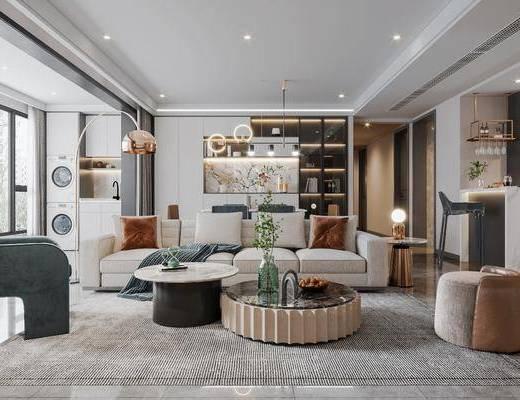 现代客厅, 轻奢客厅, 沙发, 吊灯, 装饰柜, 茶几