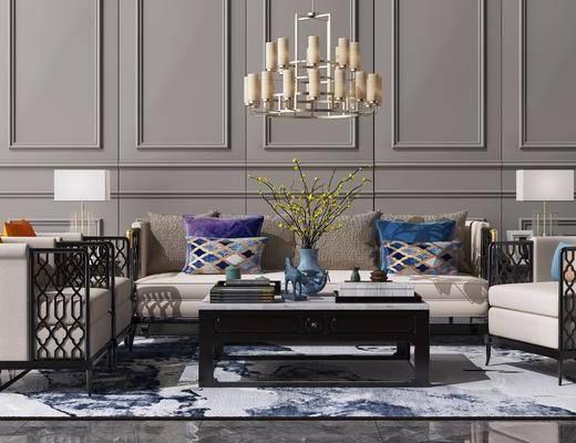 沙发组合, 茶几, 新中式沙发组合, 单椅, 吊灯