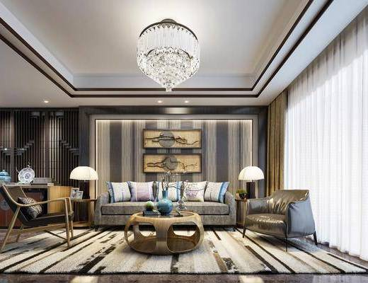 客厅, 沙发组合, 吊灯, 单椅, 台灯, 装饰画