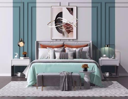 床头柜, 金属艺术吊灯, 床头挂画, 床具组合