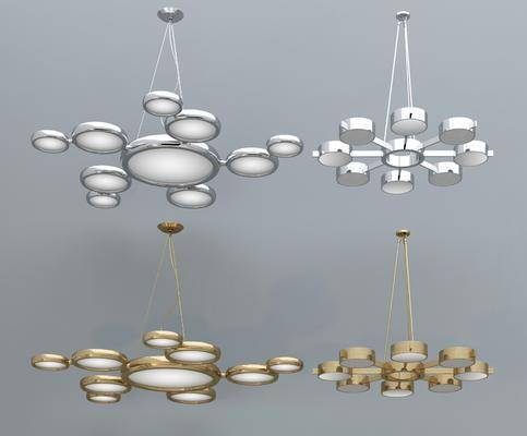 金属多头, 吊灯组合, 现代奢华