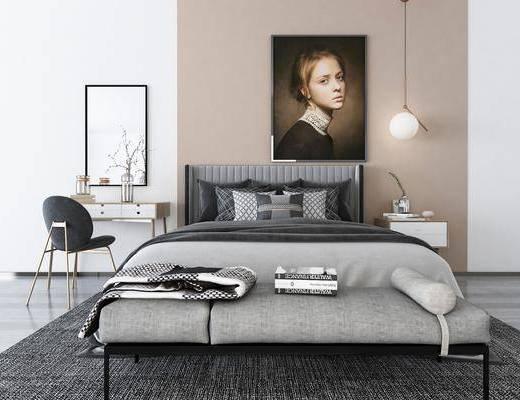 床具组合, 双人床, 现代
