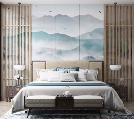 新中式, 卧室, 双人床, 床尾凳, 边几, 吊灯