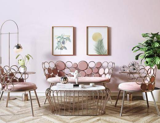 沙发组合, 茶几, 单椅, 装饰画, 盆栽植物