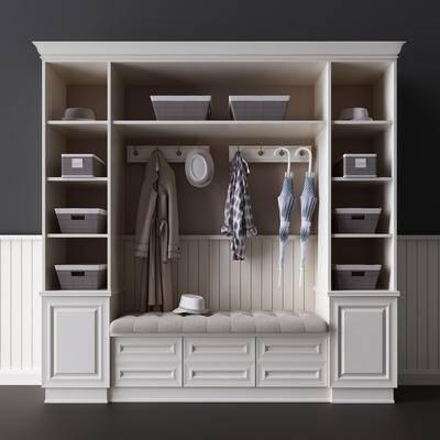 衣帽柜, 简欧, 美式, 衣柜, 鞋柜