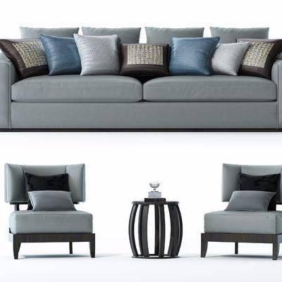 沙发组合, 现代, 布艺沙发, 椅子, 圆几