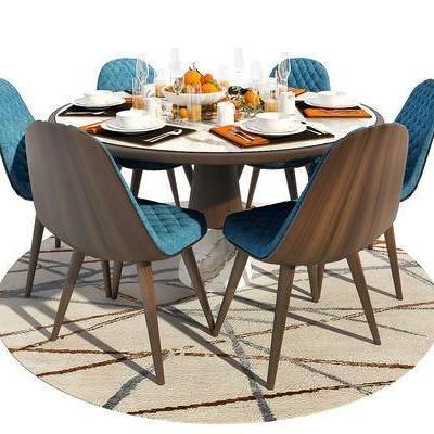 餐桌椅, 桌椅组合, 餐具, 椅子, 桌子, 北欧