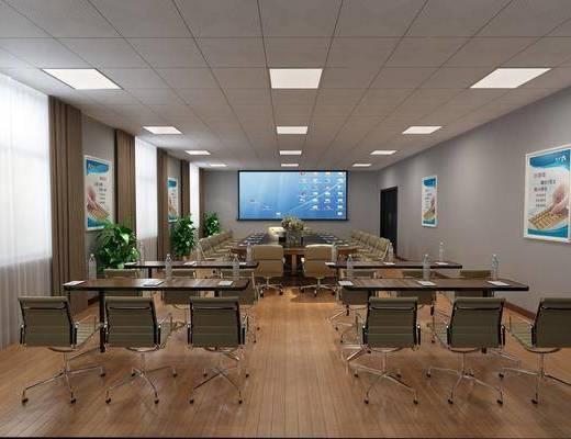 会议室, 单人椅, 办公椅, 会议桌, 会议椅, 盆栽, 绿植植物, 现代