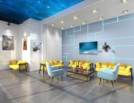 VR展厅, 休息厅, 休息室, VR, 科技, 现代