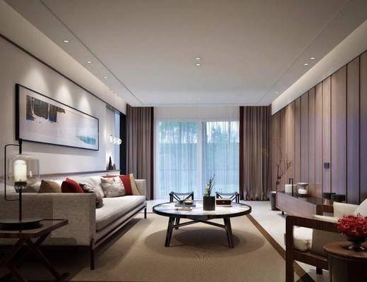 客厅, 多人沙发, 茶几, 单人沙发, 装饰画, 挂画, 边几, 台灯, 吊灯, 装饰柜, 边柜, 电视柜, 摆件, 装饰品, 陈设品, 新中式