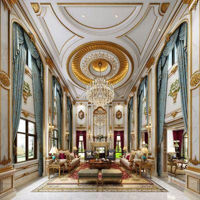 客厅, 多人沙发, 茶几, 单人沙发, 边几, 台灯, 吊灯, 壁灯, 凳子, 摆件, 装饰品, 陈设品, 欧式