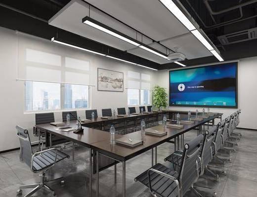 会议室, 单人椅, 吊灯, 工业风