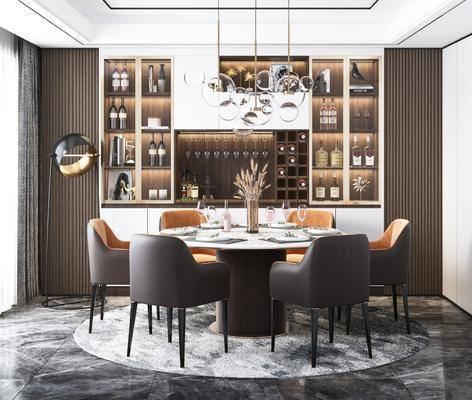 餐厅, 桌椅组合, 书柜, 吊灯, 餐具组合, 摆件