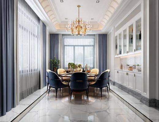 餐厅, 餐桌, 餐椅, 餐具, 圆桌, 吊灯, 酒柜, 装饰品, 欧式