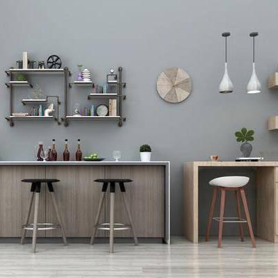 现代吧台凳子装饰架吊灯组合, 凳子, 吧台, 植物, 装饰架, 吊灯