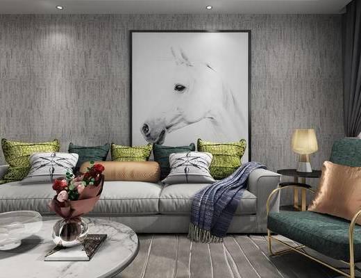 现代, 客厅, 沙发组合, 茶几, 摆件, 休闲椅, 装饰画
