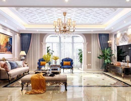 客厅, 多人沙发, 茶几, 单人沙发, 边几, 台灯, 吊灯, 装饰画, 挂画, 电视柜, 边柜, 摆件, 装饰品, 陈设品, 盆栽, 绿植, 植物, 躺椅, 欧式
