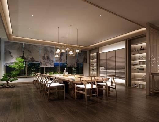 茶馆, 单人椅, 桌子, 吊灯, 边几, 茶桌, 装饰柜, 书柜, 装饰品, 陈设品, 植物, 新中式