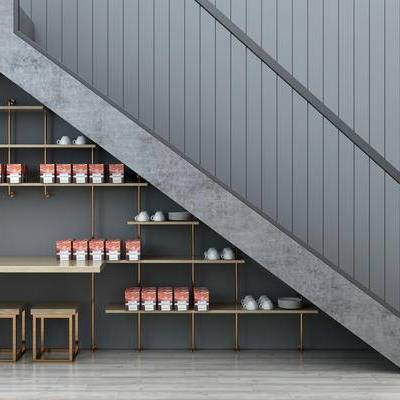 现代, 楼梯, 桌椅, 陈设品