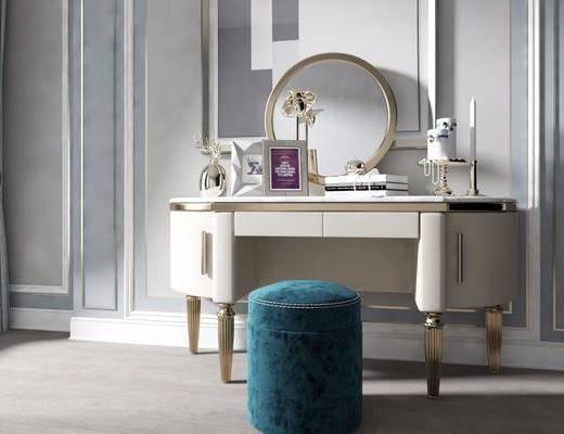 簡歐, 梳妝臺, 沙發凳, 擺件