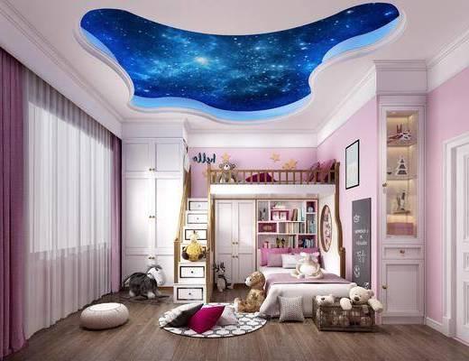 儿童房, 上下床, 单人床, 玩具, 玩偶, 装饰柜, 书柜, 书籍, 挂画, 装饰画, 现代