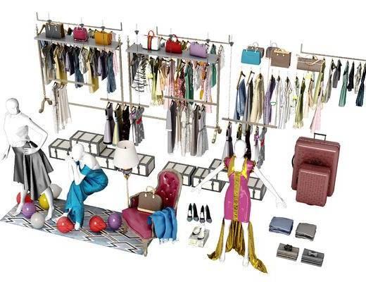 服装, 衣服, 衣物, 挂衣杆, 包包, 模特, 现代