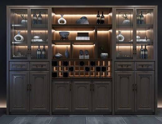 酒柜組合, 裝飾柜, 擺件組合, 新中式